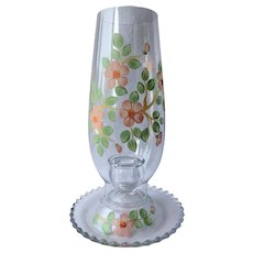 Imperial Painted Flower Hurricane Globe Handle Holder