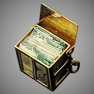 Vintage  3D Detailed Solid 585 14K Yellow Gold Mad Money Dollar Bill Box Charm / Pendant with Genuine Dollar Bill Inside