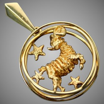 Authentic William Ruser // 1950s Vintage // 3D Detailed Amazing Textured // Solid 14K Yellow Gold // Zodiac Sign Aries//Large Pendant Collectible