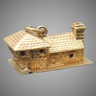 """ESTATE 3D Detailed House """" God Bless Our Home """" Solid 14K Yellow Gold Mechanical Charm / Pendant // Rare"""