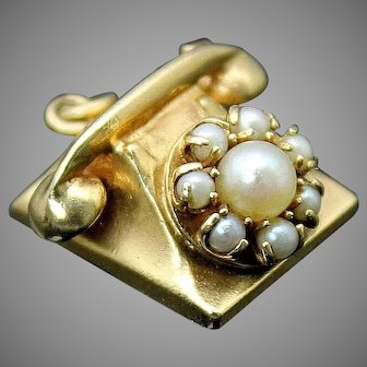 Vintage  Cultured Freshwater Genuine Pearls 3D Detailed Old Rotary Phone / Solid 14K Yellow Gold // Collectible Charm / Pendant