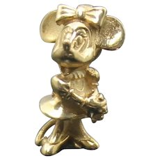 Vintage Signed DISNEY Solid 14K 585 Yellow Gold 3D Minnie Mouse  Charm / Pendant // Collectible