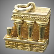 Vintage 3D Detailed Solid 9K 385 Yellow Gold Part of The Parthenon Doric Columns Athens Greece Collectible Charm