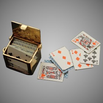 Collectible Vintage Box with Genuine Miniature Playing Cards Solid 14K Yellow Gold Charm / Pendant
