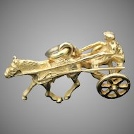 Collectible Vintage 3D Detailed Harness Racing Horse Sulky Movable Solid 14K 585 Yellow Gold Charm / Pendant