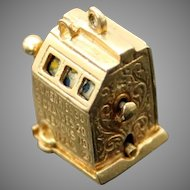 Vintage Collectible 3D Detailed Slot Machine One Arm Bandit Solid 14K Yellow Gold Charm // Pendant