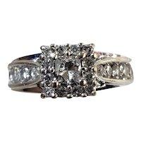 14K White Gold Diamond Engagement Ring Size 4.5