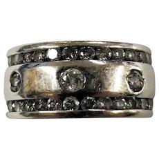 14K White Gold 2CTW Diamond Ring Band Size 4.5