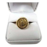 Vintage 18K Yellow Gold ring with 21.6k Estados Unidos Mexicanos Coin Size 8.5