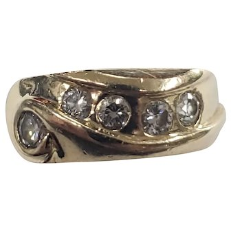 Vintage 14K Yellow Gold Swirl Diamond Ring Size 6