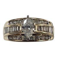 14K Yellow Gold Diamond Engagement Ring Size 8