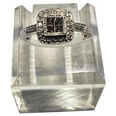 14K White Gold Diamond & Chocolate Diamond Engagement Ring Size 5.5