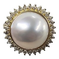 Vintage 14K Yellow Gold Mother of Pearl & Diamond Cocktail Ring