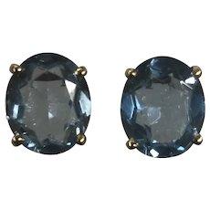 14 Karat Yellow Gold Synthetic Blue Stone Earrings