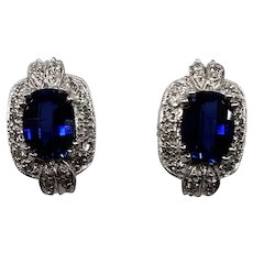 14K White Gold Diamond & Synthetic Sapphire Earrings