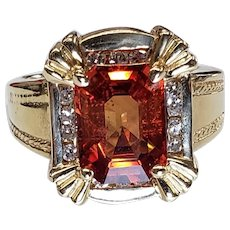 14K Yellow Gold Orange Topaz & Diamond Ring Size 8