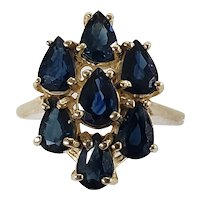 14K Yellow Gold Blue Sapphire Cocktail Ring Size 7.5