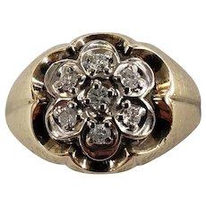 10K Yellow Gold Diamond Kentucky Cluster Men's Ring