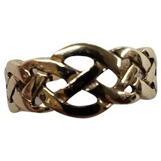 9K Yellow Gold Celtic Knot Style Band Ring