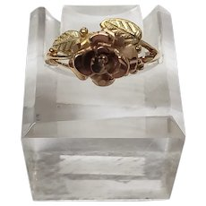 10K Yellow & Rose Gold Rose Ring Size 6