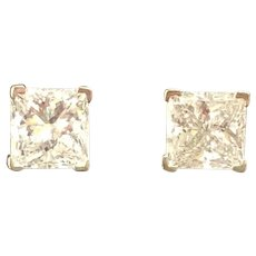 Vintage 18K White Gold Princess Cut Diamond Stud Earrings 1.53 CTW