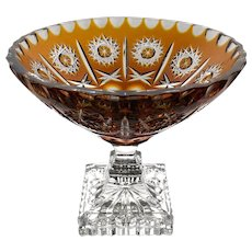 Heavy GOLDEN AMBER Centerpiece Console Compote Cut-to-Clear Lead Crystal Germany