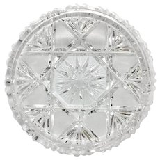 Heavy CLEAR Ashtray Ash Tray Brilliant Cut 24% Lead Crystal Germany STARS & FANS