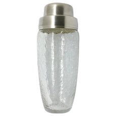 Clear Crackled CRYSTAL Cocktail Shaker WMF William Fraser SILVER PLATED 1970s