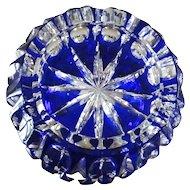 Small COBALT BLUE Ashtray Ash Tray Cut-to-Clear Lead Crystal Bavaria GERMANY