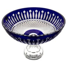 COBALT BLUE Centerpiece Console Compote Cut-to-Clear Lead Crystal Germany like TOMMY / XENIA / KING LOUIS