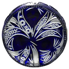 Sawtooth COBALT BLUE Bowl Dish Cut-to-Clear 24% Lead Crystal Péter Kiss HUNGARY