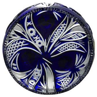 Sawtooth COBALT BLUE Bowl Dish Cut-to-Clear 24% Lead Crystal Péter Kiss HUNGARY