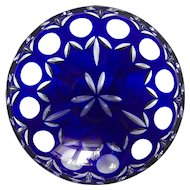 COBALT BLUE Footed Bowl Dish Cut-to-Clear Lead Crystal Germany BAMBERG Bavaria
