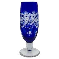 COBALT BLUE Champagne Flute Hock Glass Cut-to-Clear Lead Crystal CZECH Bohemia