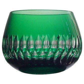 EMERALD GREEN Tea Light Votive Stemless Glass Cut-to-Clear Crystal VEB Döbern Germany