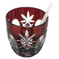 Deep RUBY RED Open Salt w/MOP Spoon Cut-to-Clear Lead Crystal Germany WITTWER