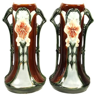 Pair of Art Nouveau Majolica Vases Germany 1910s