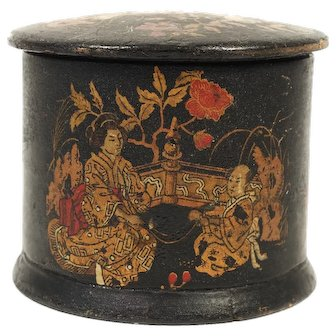Napoleon III Lacquer Powder Box with Chinoiserie, 1870s