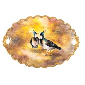 Limoges Large 19th Century handpainted Bird Plate