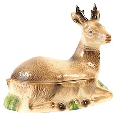 French Majolica Pate Tureen Deer Stag shaped Michel Caugant