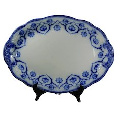 WH Grindley Flow Blue 18 inch Serving Platter Haddon Pattern