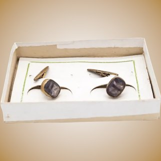 Pair of women's cufflinks, in metal and amethyst crystal, 19th , from Italy