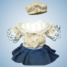 Antique rare little dress Bebe Jumeau size 2 with his hat assorted
