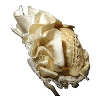 Antique beautiful hat silk and lace for large mignonnette all bisque