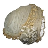 Antique beautiful hat in cotton, silk and lace for large bébé Jumeau, Steiner, Gaultier...