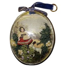 Antique rare medallion of liliputienne all bisque with curved glass frame