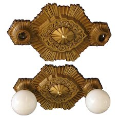 Pair of 1920s Art Deco Cast Aluminum Two Light Bare Bulb Style Ceiling Lights