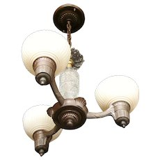 "Vintage Lighting: 1930s three Light ""Pudding Cup"" Style Chandelier with Glass Center Post"