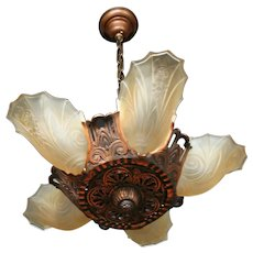 1930s Five Light Slip Shade Chandelier
