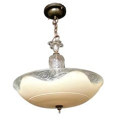 "Vintage Lighting: Circa 1940 Glass Center Post four bulb""dish shade"" Chandelier"